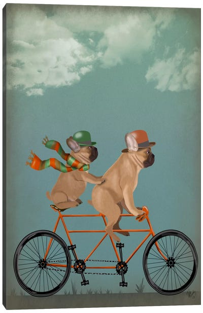 French Bulldog Tandem Canvas Art Print