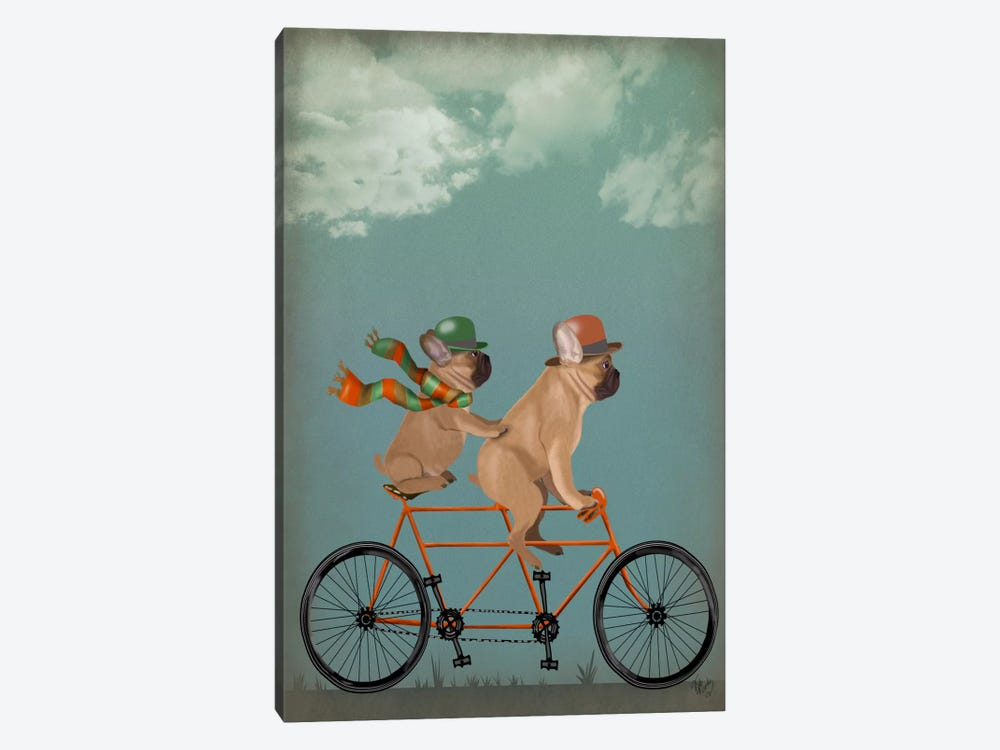 French Bulldog Tandem by Fab Funky 1-piece Canvas Art