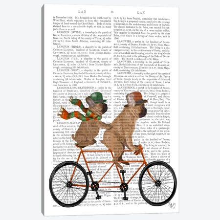 French Bulldog Tandem, Print BG Canvas Print #FNK654} by Fab Funky Canvas Artwork
