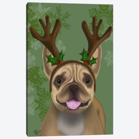 French Bulldog, Antlers I Canvas Print #FNK655} by Fab Funky Canvas Artwork