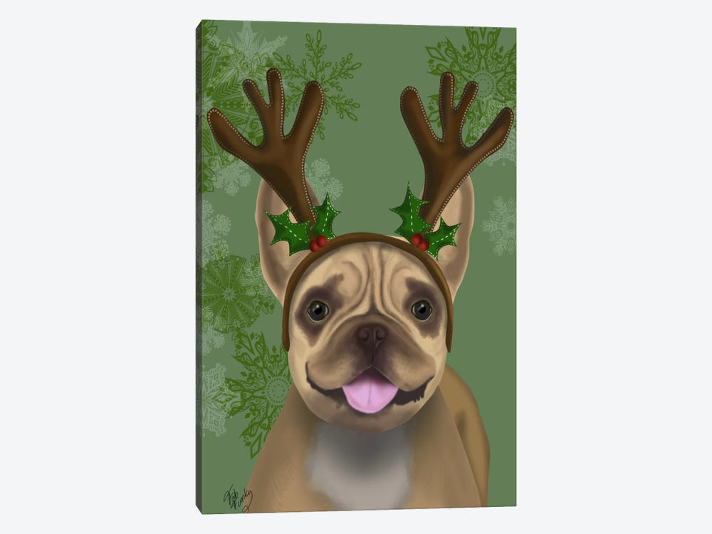 French Bulldog, Antlers I by Fab Funky 1-piece Canvas Wall Art