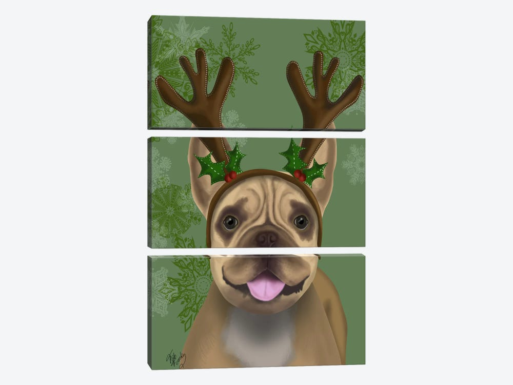 French Bulldog, Antlers I by Fab Funky 3-piece Canvas Art