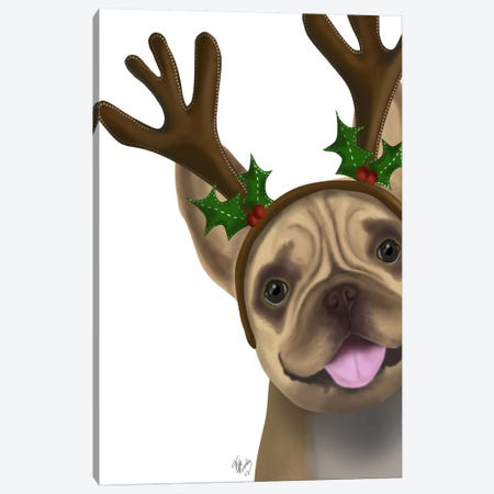 French Bulldog, Antlers II Canvas Print #FNK656} by Fab Funky Canvas Art