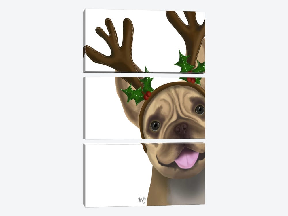 French Bulldog, Antlers II by Fab Funky 3-piece Canvas Art Print