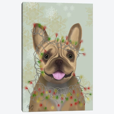 French Bulldog, Christmas Lights I Canvas Print #FNK657} by Fab Funky Canvas Wall Art