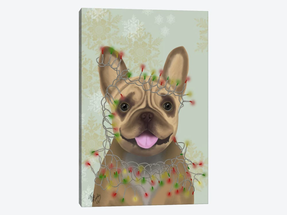 French Bulldog, Christmas Lights I by Fab Funky 1-piece Canvas Art