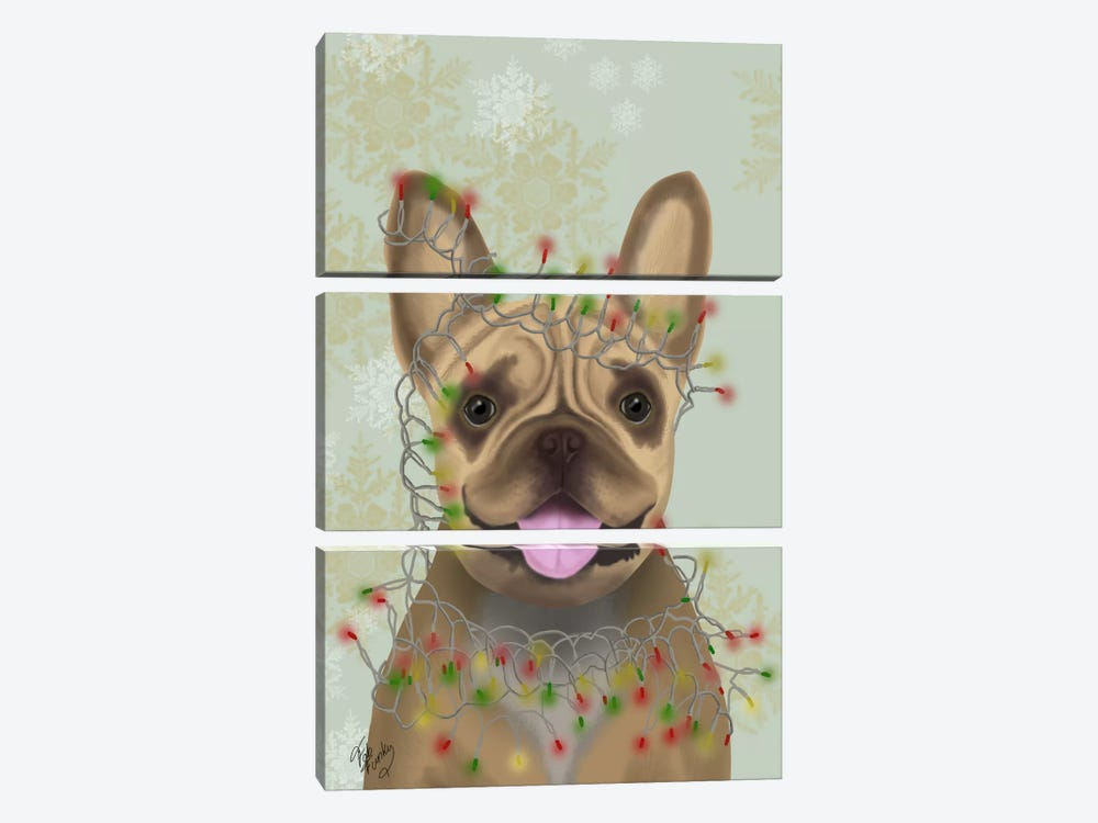 French Bulldog, Christmas Lights I by Fab Funky 3-piece Canvas Art