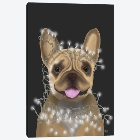 French Bulldog, Christmas Lights II Canvas Print #FNK658} by Fab Funky Canvas Art Print