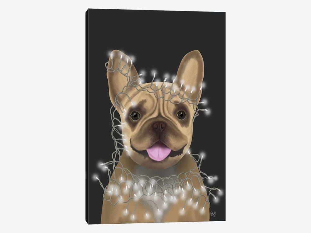 French Bulldog, Christmas Lights II by Fab Funky 1-piece Canvas Print