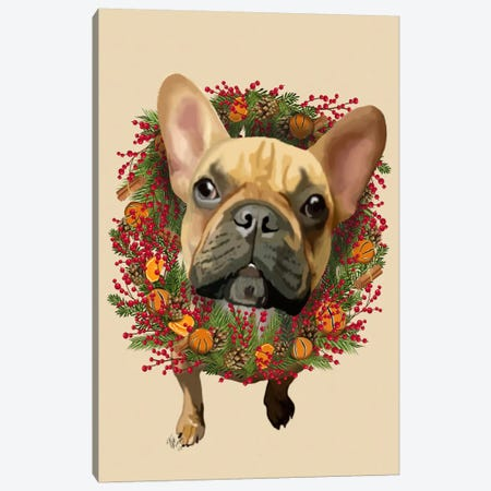 French Bulldog, Cranberry Wreath Canvas Print #FNK659} by Fab Funky Art Print