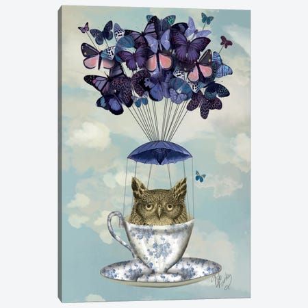Owl In Teacup Canvas Print #FNK65} by Fab Funky Canvas Artwork