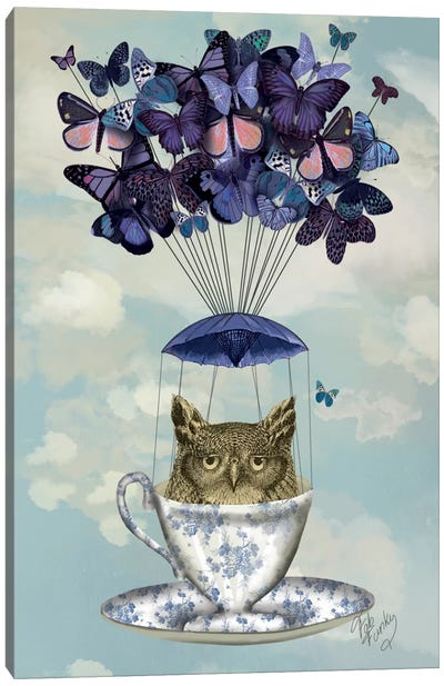 Owl In Teacup Canvas Art Print