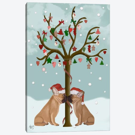 French Bulldogs and Christmas Tree Canvas Print #FNK660} by Fab Funky Canvas Wall Art
