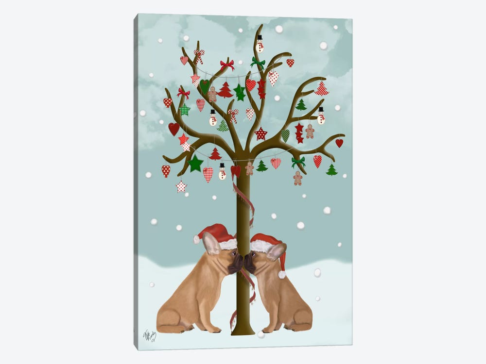 French Bulldogs and Christmas Tree by Fab Funky 1-piece Canvas Wall Art