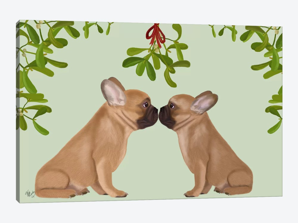 French Bulldogs and Mistletoe by Fab Funky 1-piece Canvas Print
