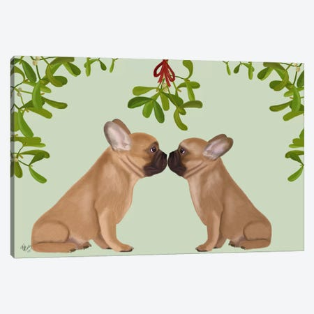 French Bulldogs and Mistletoe Canvas Print #FNK661} by Fab Funky Canvas Artwork