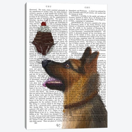 German Shepherd Ice Cream, Print BG Canvas Print #FNK663} by Fab Funky Canvas Wall Art