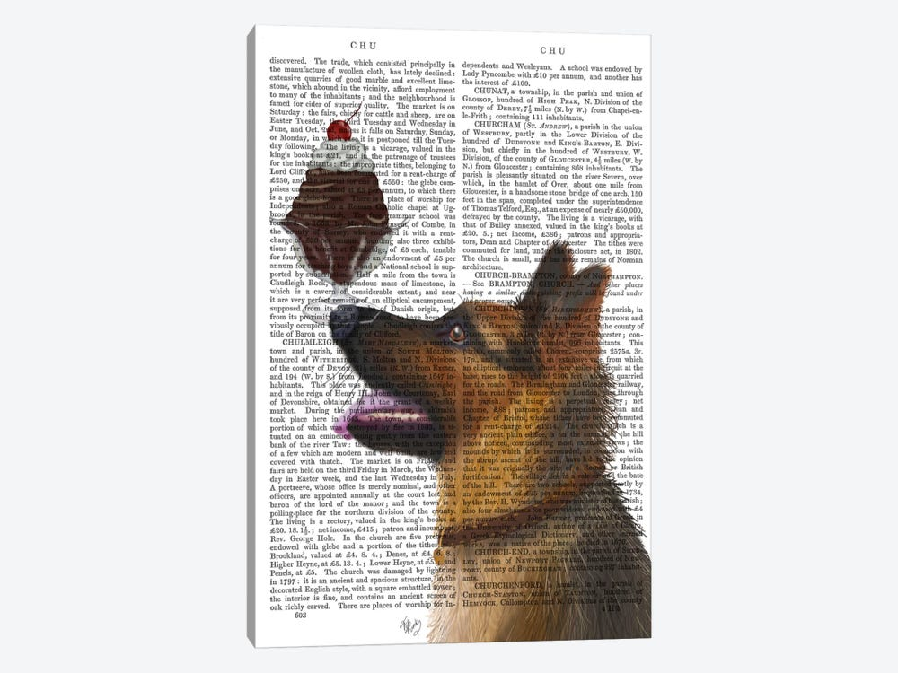 German Shepherd Ice Cream, Print BG by Fab Funky 1-piece Canvas Art Print