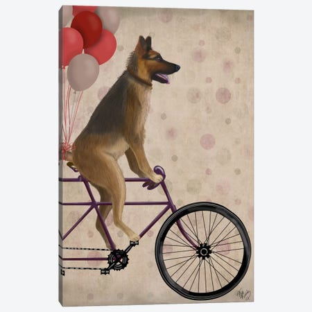 German Shepherd on Bicycle Canvas Print #FNK664} by Fab Funky Art Print