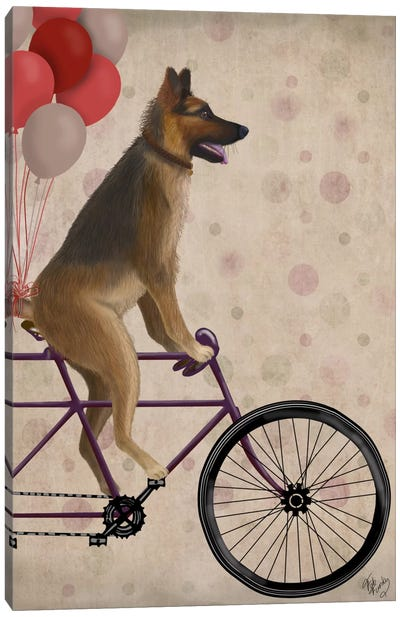 German Shepherd on Bicycle Canvas Art Print