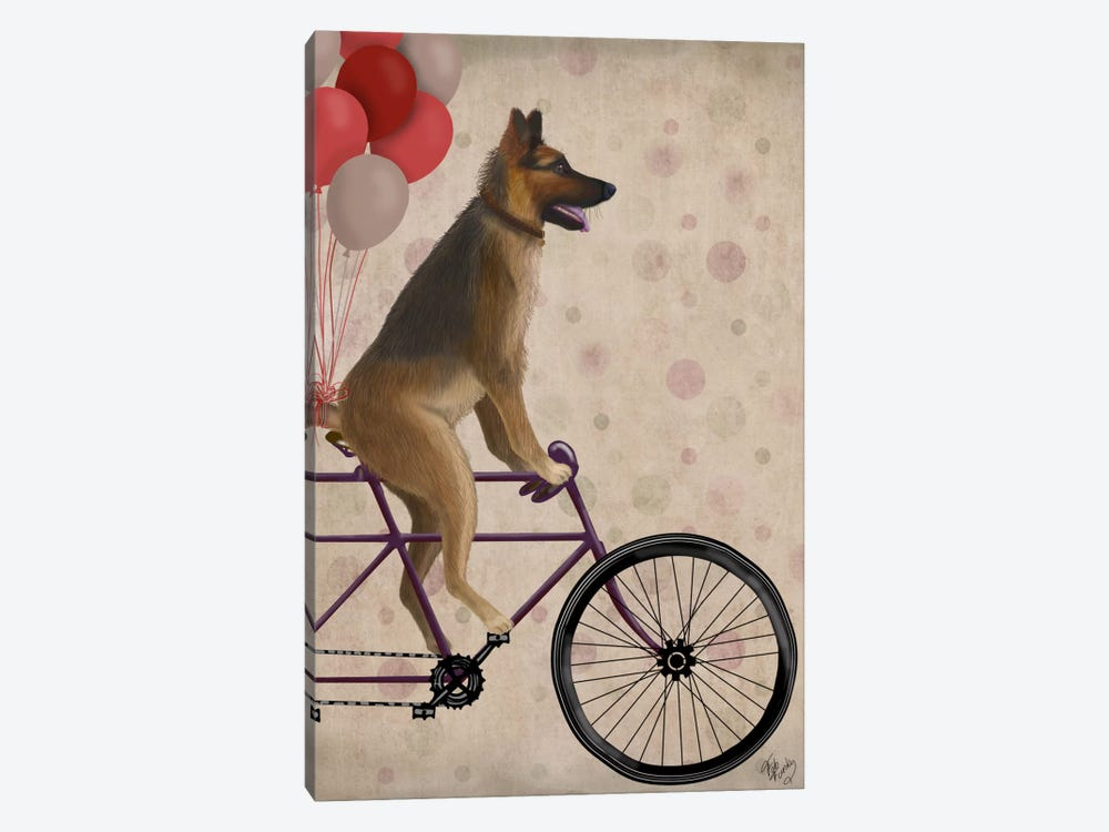 German Shepherd on Bicycle by Fab Funky 1-piece Canvas Wall Art