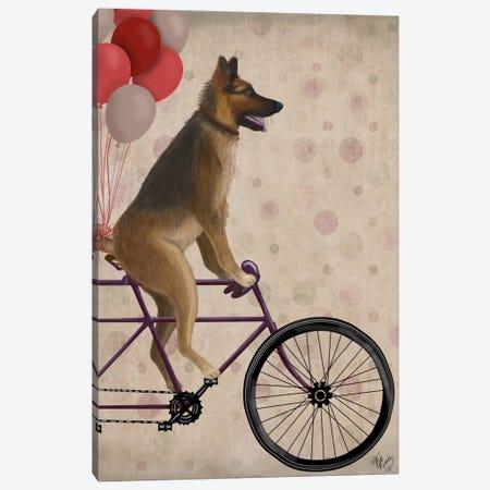 German Shepherd on Bicycle Canvas Print #FNK664} by Fab Funky Art Print
