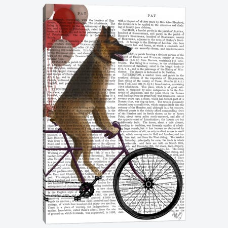 German Shepherd on Bicycle, Print BG Canvas Print #FNK665} by Fab Funky Canvas Print