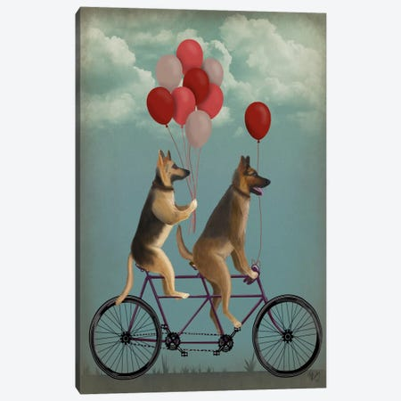 German Shepherd Tandem Canvas Print #FNK666} by Fab Funky Canvas Art Print