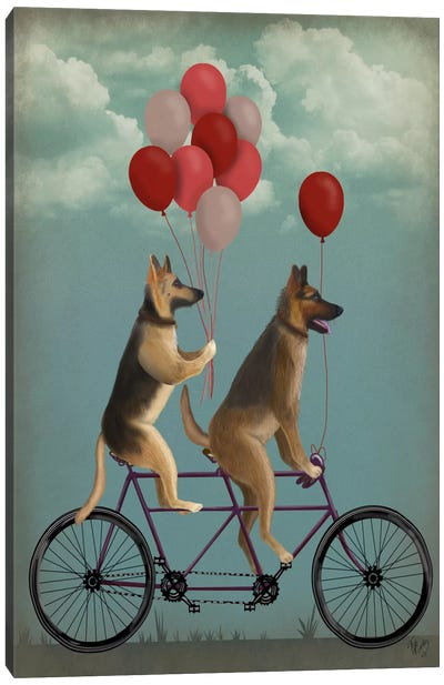 German Shepherd Tandem Canvas Art Print