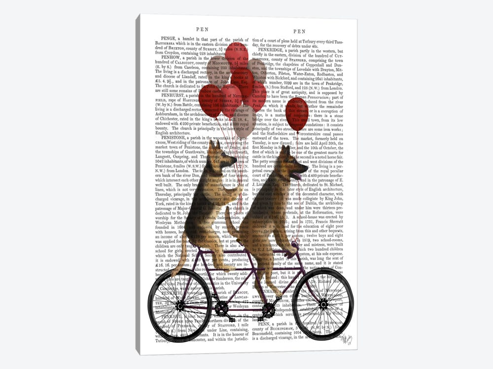 German Shepherd Tandem, Print BG by Fab Funky 1-piece Art Print