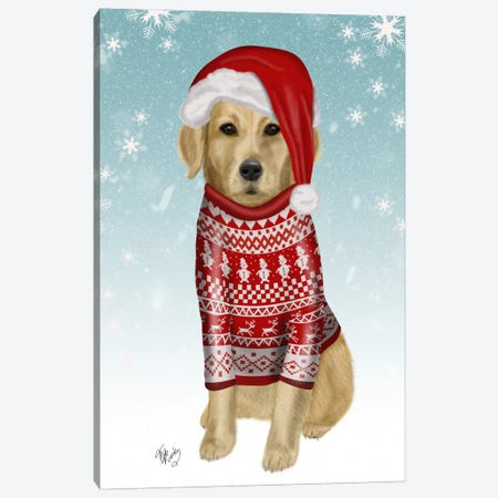 Golden Retriever in Christmas Sweater Canvas Print #FNK672} by Fab Funky Canvas Print