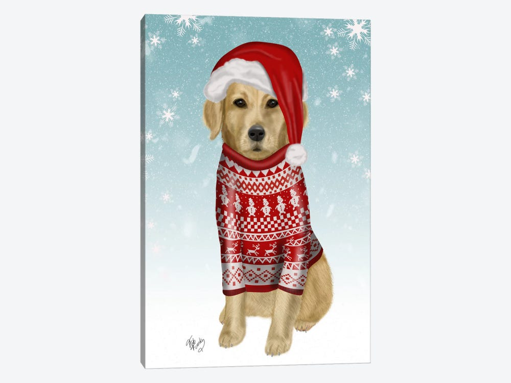 Golden Retriever in Christmas Sweater by Fab Funky 1-piece Canvas Art Print