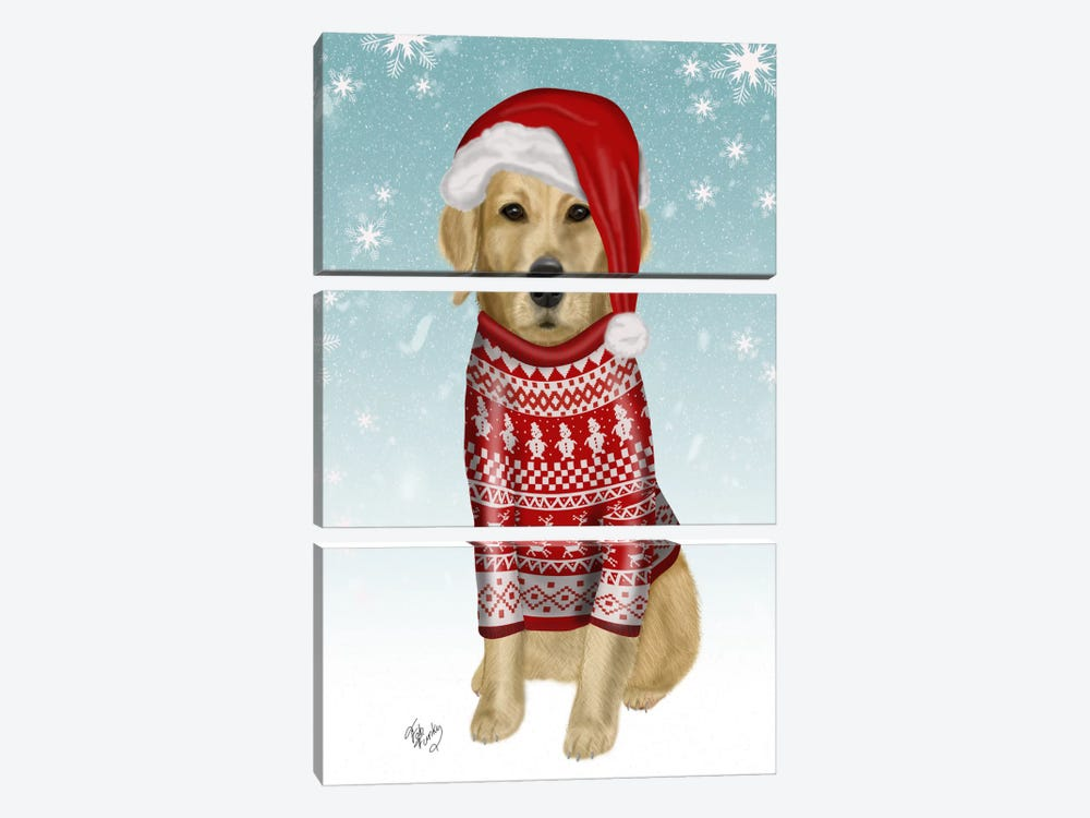 Golden Retriever in Christmas Sweater by Fab Funky 3-piece Canvas Print