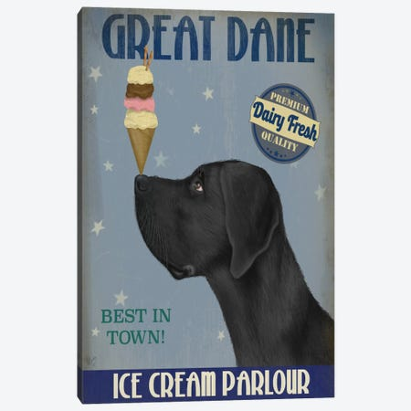 Great Dane, Black, Ice Cream Canvas Print #FNK673} by Fab Funky Canvas Art Print