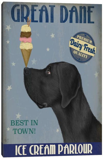 Great Dane, Black, Ice Cream Canvas Art Print