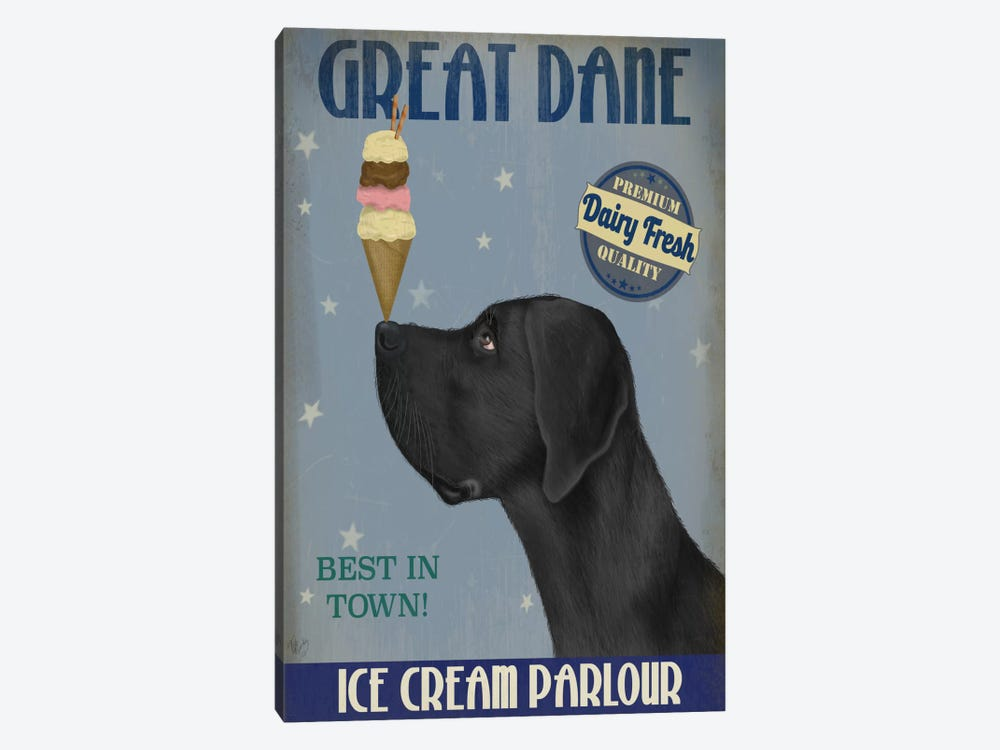 Great Dane, Black, Ice Cream by Fab Funky 1-piece Canvas Artwork