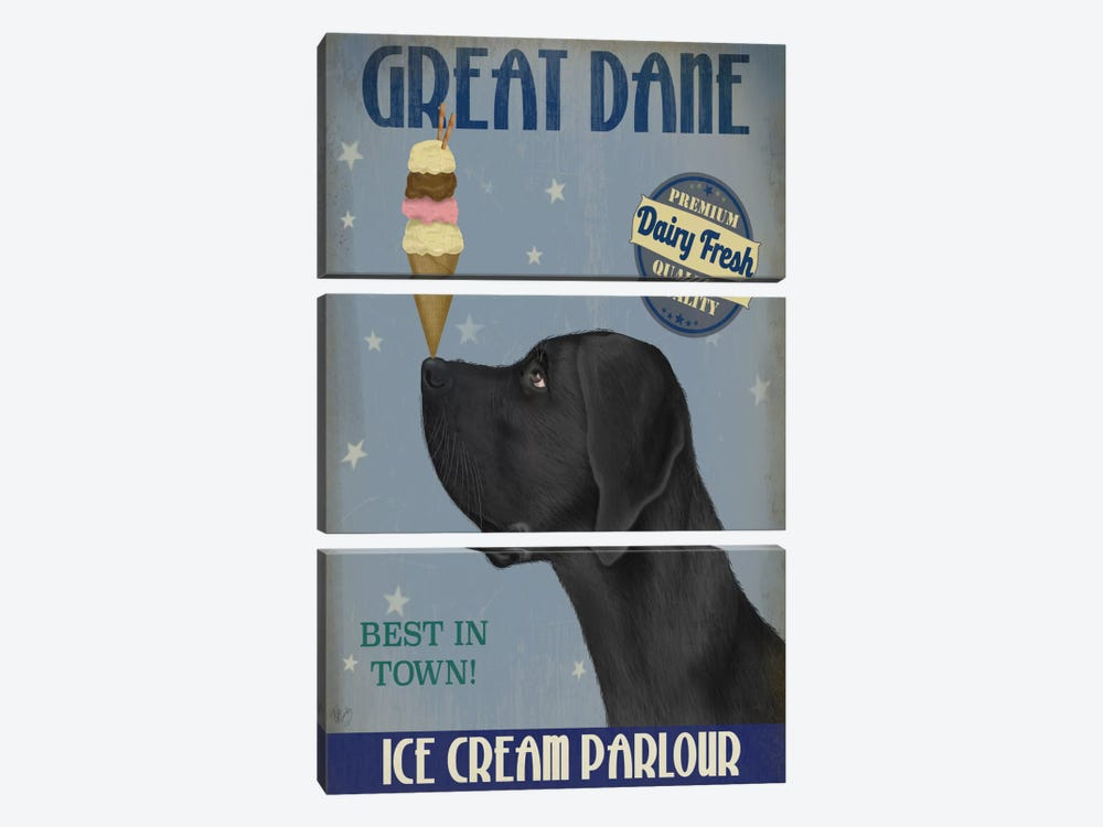 Great Dane, Black, Ice Cream by Fab Funky 3-piece Canvas Artwork