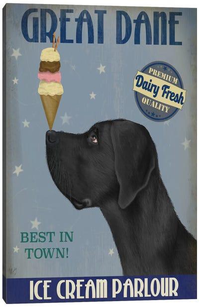Great Dane, Black, Ice Cream Canvas Art Print
