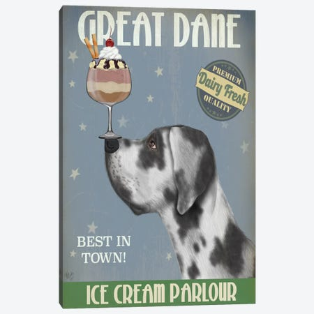 Great Dane, Harlequin, Ice Cream Canvas Print #FNK675} by Fab Funky Canvas Art