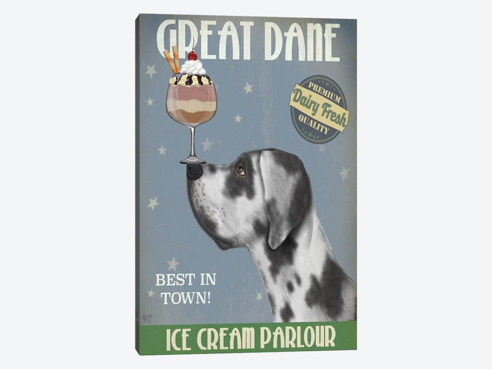 Great Dane, Harlequin, Ice Cream by Fab Funky 1-piece Canvas Artwork