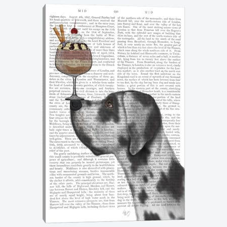 Great Dane, Harlequin, Ice Cream, Print BG Canvas Print #FNK676} by Fab Funky Canvas Art