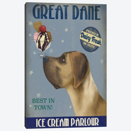 Great Dane, Tan, Ice Cream Canvas Print #FNK677} by Fab Funky Canvas Artwork