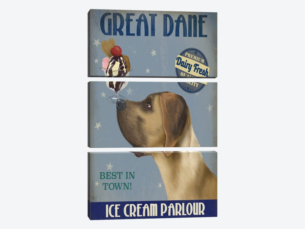 Great Dane, Tan, Ice Cream 3-piece Canvas Art