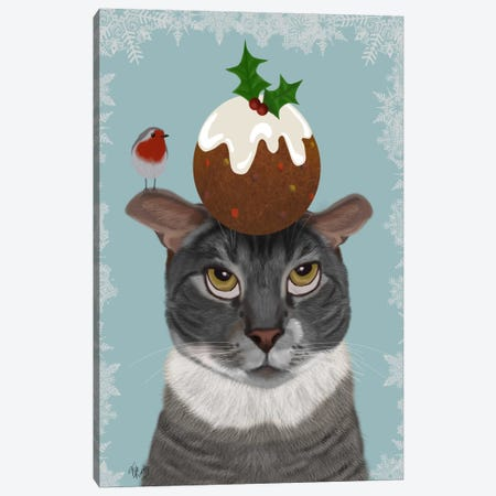 Grey Cat and Christmas Pudding Canvas Print #FNK679} by Fab Funky Canvas Print