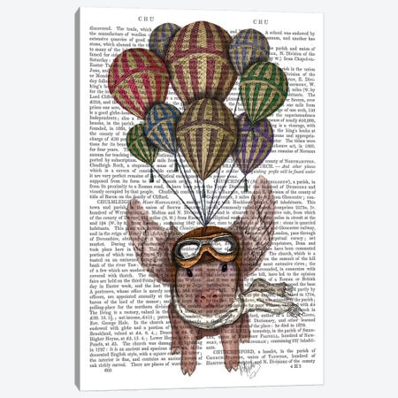 Pig And Balloons Canvas Print #FNK67} by Fab Funky Canvas Art