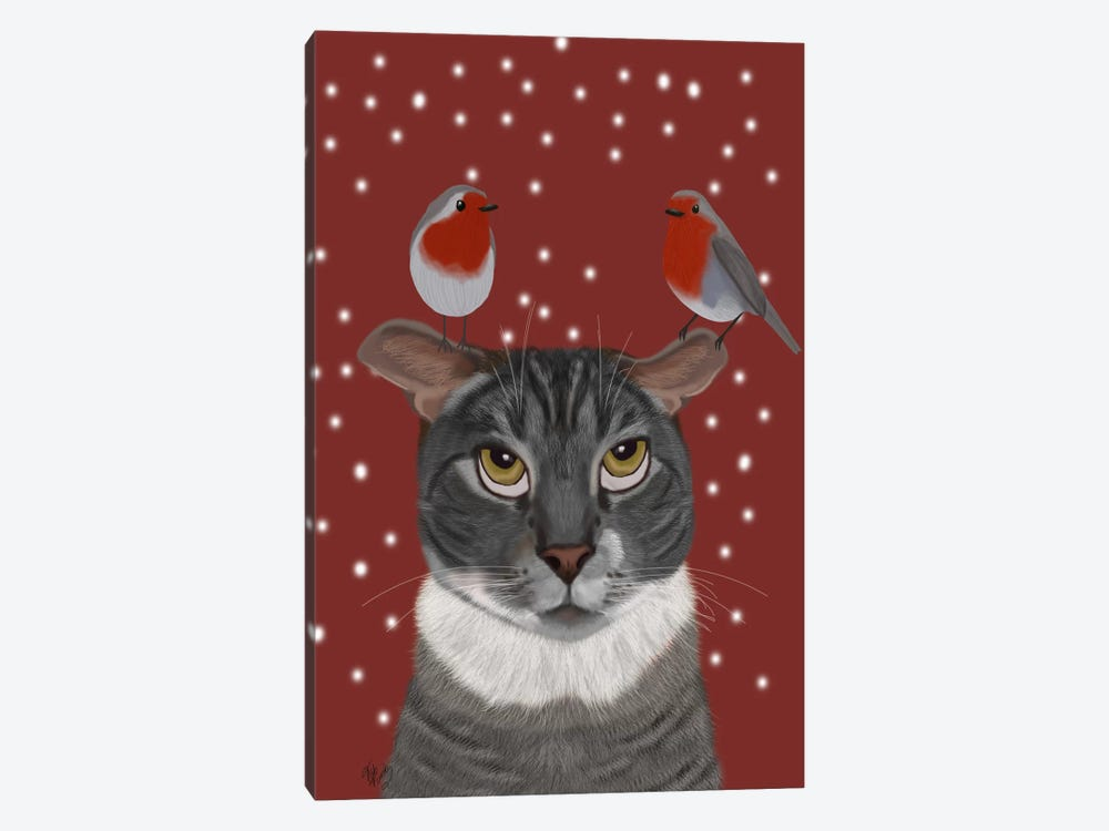 Grey Cat and Robins by Fab Funky 1-piece Canvas Artwork