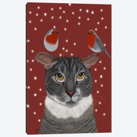 Grey Cat and Robins Canvas Print #FNK680} by Fab Funky Canvas Artwork