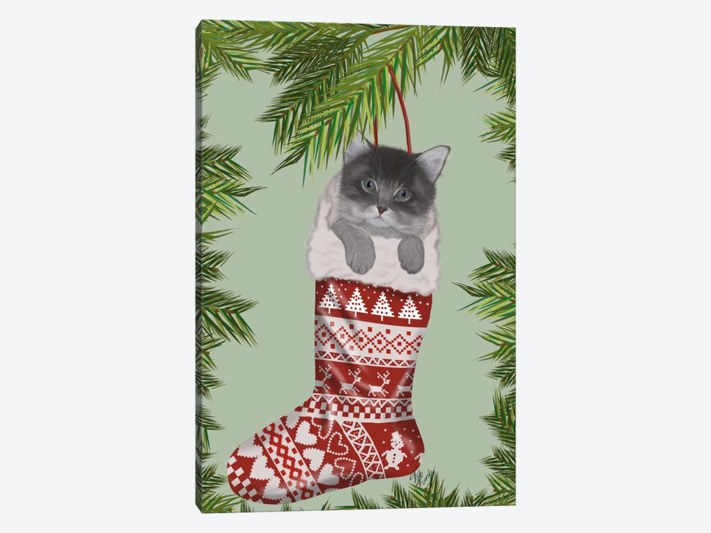 Grey Kitten in Christmas Stocking by Fab Funky 1-piece Canvas Art Print