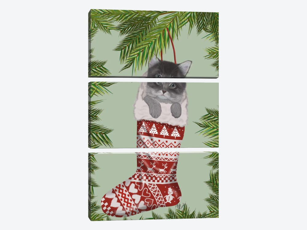 Grey Kitten in Christmas Stocking by Fab Funky 3-piece Canvas Art Print
