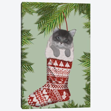 Grey Kitten in Christmas Stocking Canvas Print #FNK681} by Fab Funky Canvas Art